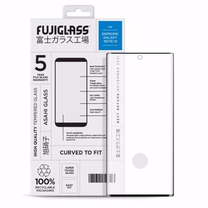 Picture of Fuji Fuji Curved-to-fit Screen Protector for Samsung Galaxy Note 10 in Clear/Black